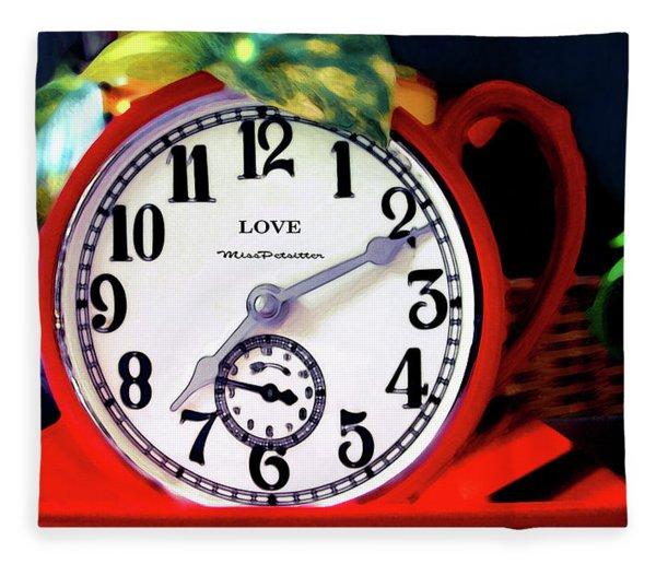 Clock In The Garden Painting  Fleece Blanket