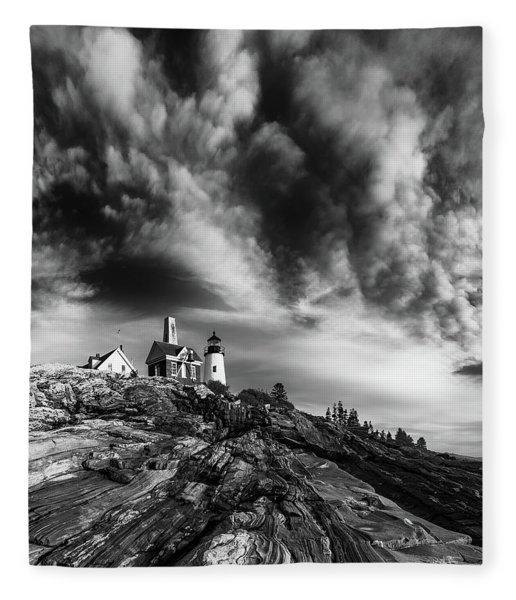 Clouds Over Pemaquid Lighthouse Fleece Blanket
