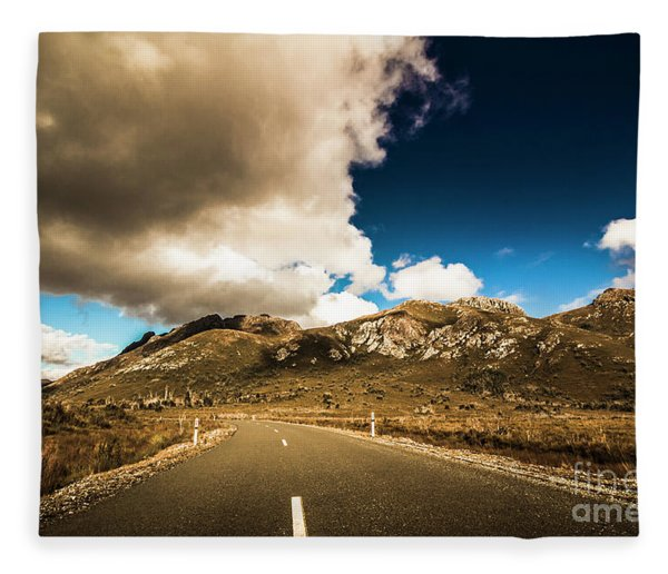 Cloudy Country Road Fleece Blanket