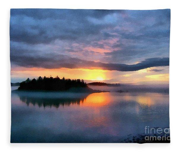 Coastal Maine Sunset Fleece Blanket