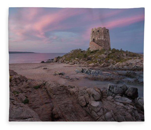Coastal Tower At Sunset Fleece Blanket