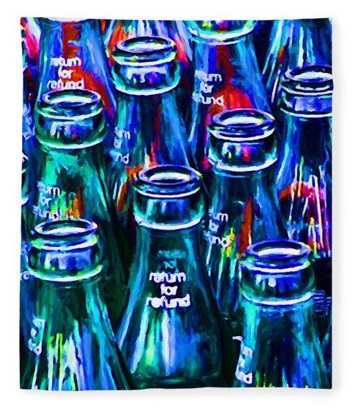Coca-cola Coke Bottles - Return For Refund - Painterly - Blue Fleece Blanket
