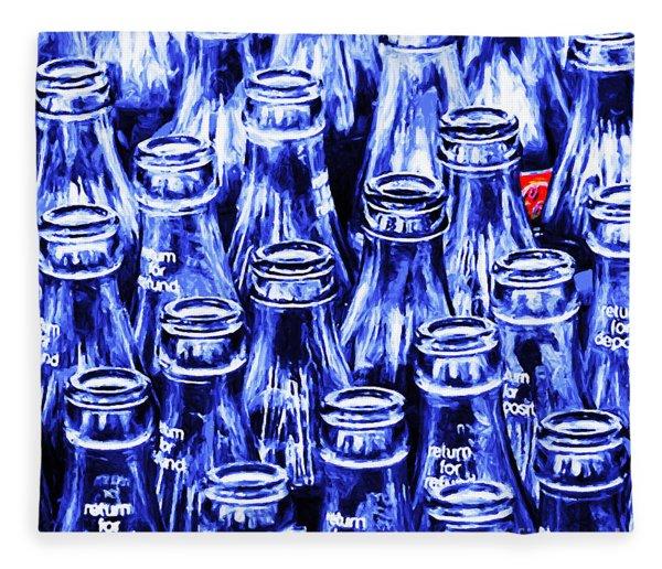 Coca-cola Coke Bottles - Return For Refund - Square - Painterly - Blue Fleece Blanket