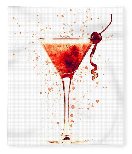 Cocktail Drinks Glass Watercolor Red Fleece Blanket