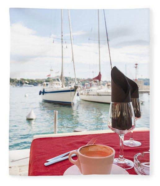 Coffee At Mediterranean Harbour Fleece Blanket