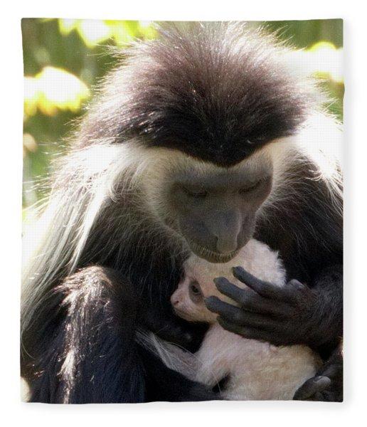 Colobus Monkey And Child Fleece Blanket