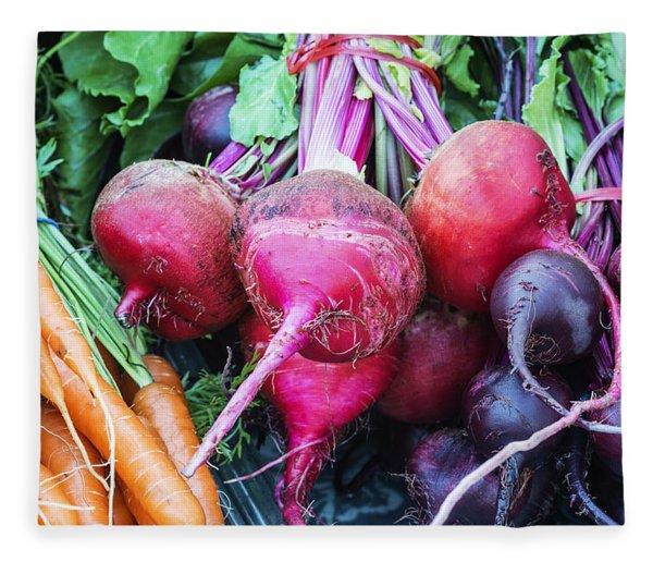 Colorful Fresh Vegetables Fleece Blanket