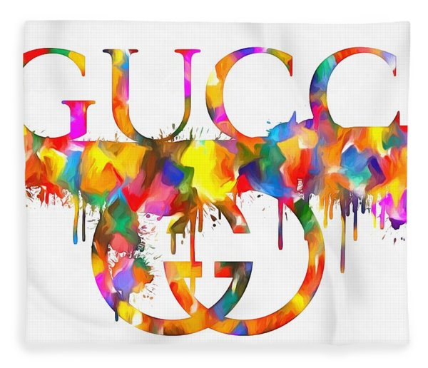 Colorful Gucci Paint Splatter Fleece Blanket