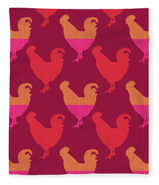 Colorful Roosters- Art By Linda Woods Fleece Blanket