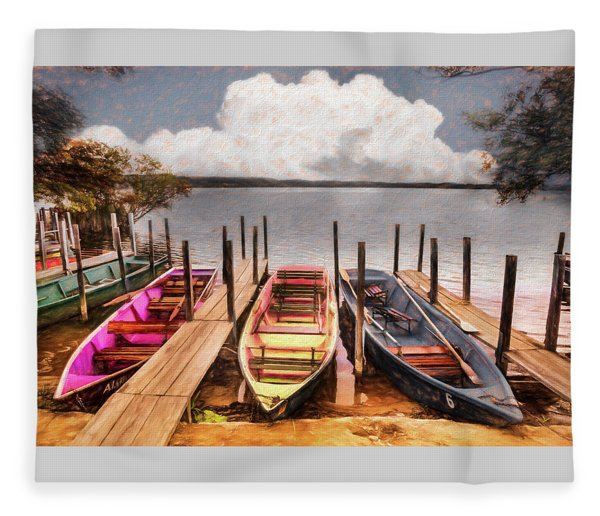 Colorful Rowboats At The Lake Pastels Oil Painting  Fleece Blanket