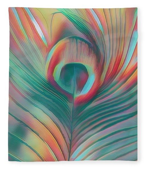 Colors Of The Rainbow Peacock Feather Fleece Blanket
