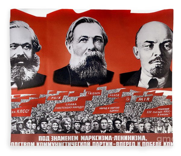 Communist Vintage Poster Showing Marx, Engels, And Lenin Fleece Blanket