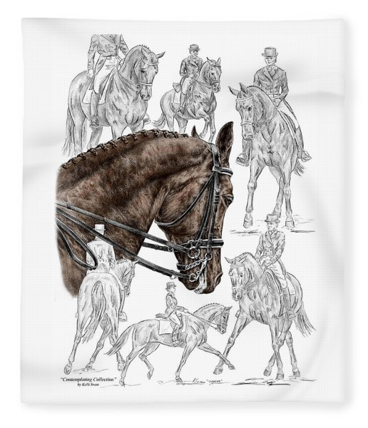 Contemplating Collection - Dressage Horse Print Color Tinted Fleece Blanket