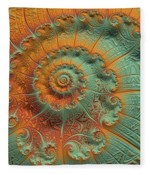 Fleece Blanket featuring the digital art Copper Verdigris by Susan Maxwell Schmidt