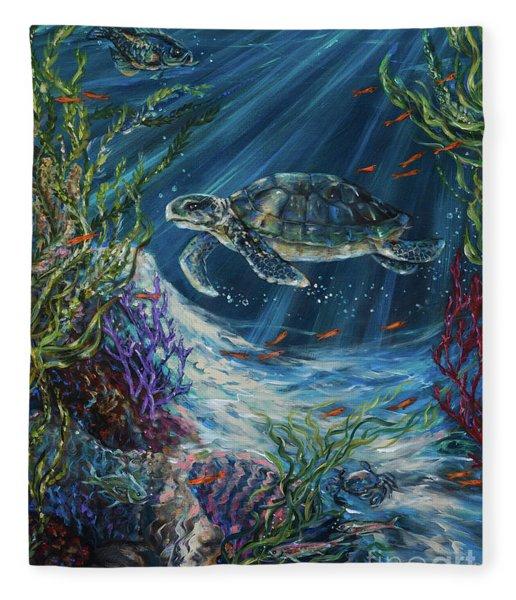 Coral Reef Turtle Fleece Blanket