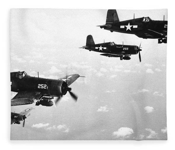 Corsair Planes  Us Airforce Fleece Blanket