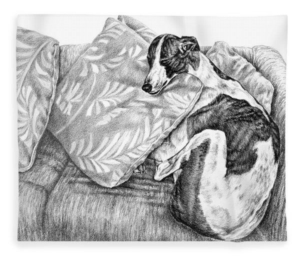 Couch Potato Greyhound Dog Print Fleece Blanket
