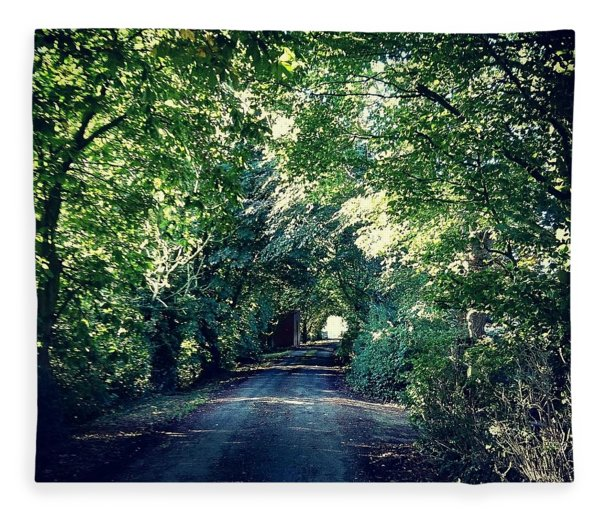 Country Lane, Tree Tunnel Fleece Blanket
