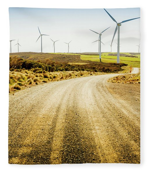 Country Roads And Scenic Windfarms Fleece Blanket