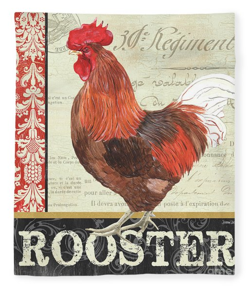 Country Rooster 2 Fleece Blanket