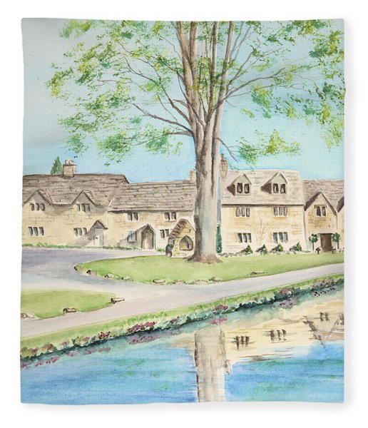 Countryside Cottages Fleece Blanket