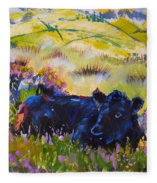 Cow Lying Down Among Plants Fleece Blanket