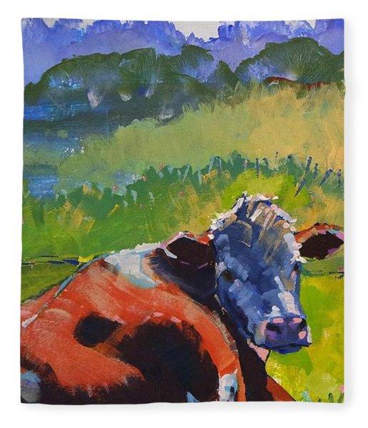 Cow Lying Down On A Sunny Day Fleece Blanket