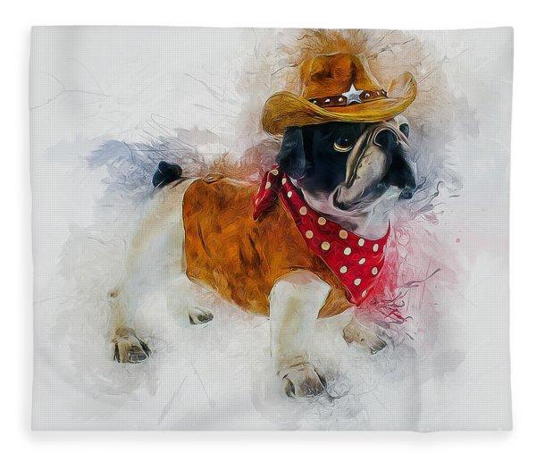 Cowboy Bulldog Fleece Blanket