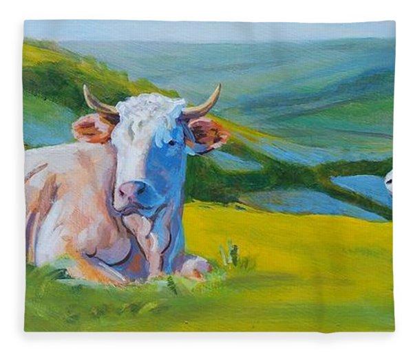Cows Lying Down In Devon Hills Fleece Blanket