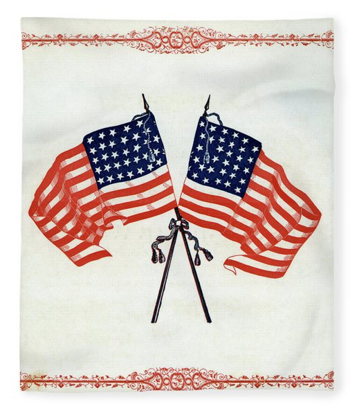 Crossed Civil War Union Flags 1861 Fleece Blanket