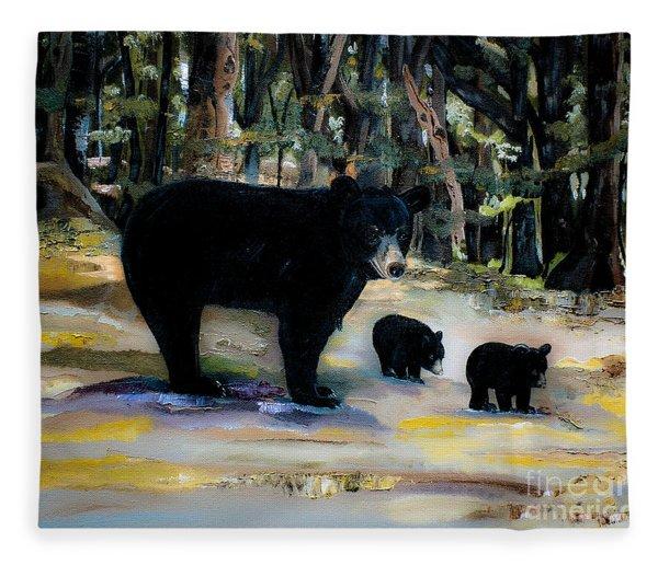 Cubs With Momma Bear - Dreamy Version - Black Bears Fleece Blanket
