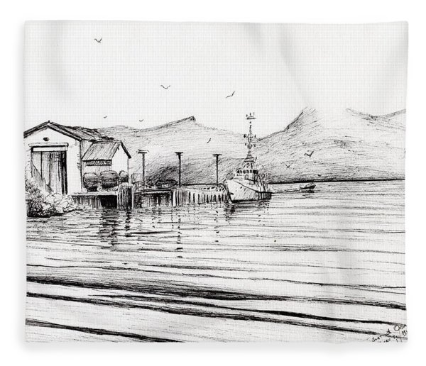 Customs Boat At Oban Fleece Blanket