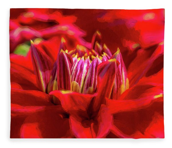 Dahlia Study 1 Painterly Fleece Blanket