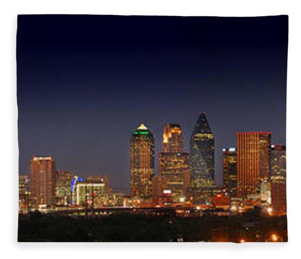 Dallas Skyline At Dusk Big Moon Night  Fleece Blanket