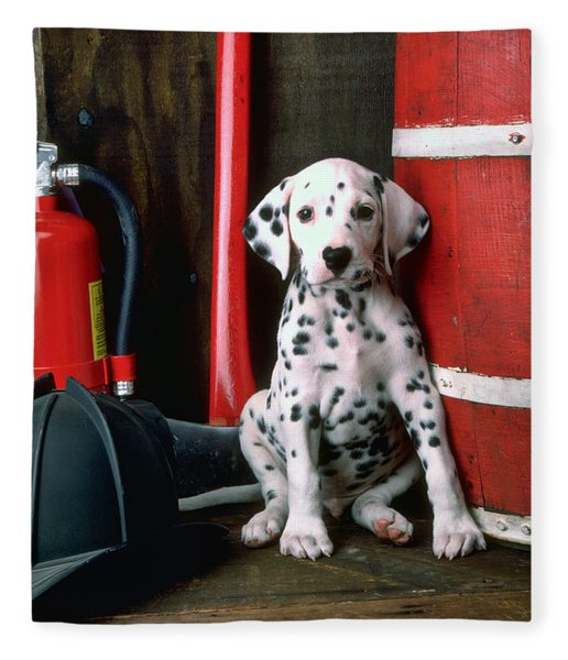 Dalmatian Puppy With Fireman's Helmet  Fleece Blanket