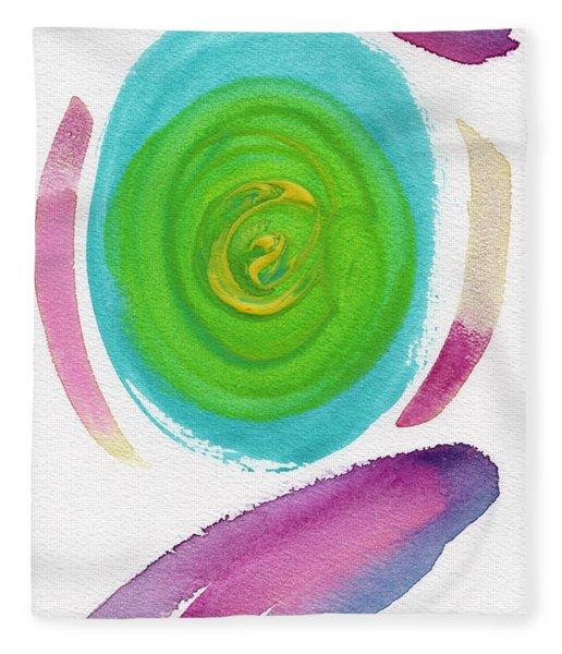 Fleece Blanket featuring the painting Dandelion by Bee-Bee Deigner