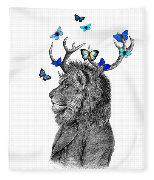Dandy Lion With Antlers And Blue Butterflies Fleece Blanket