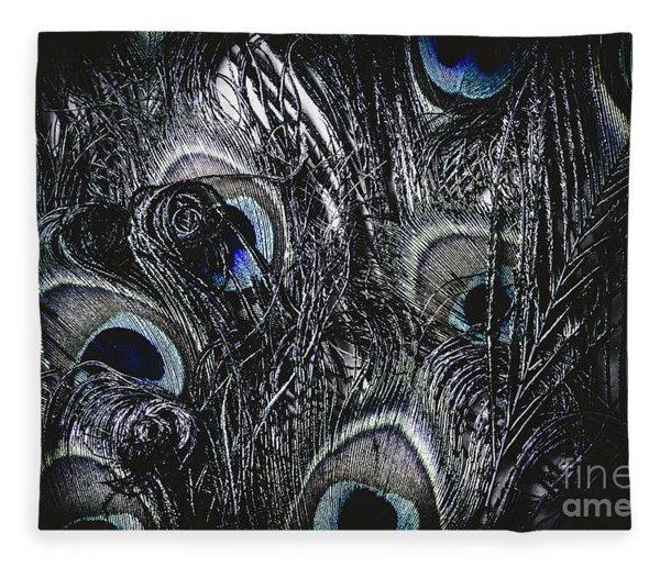 Dark Blue Peacock Feathers  Fleece Blanket