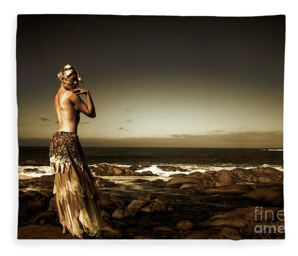 Dark Dramatic Fine Art Beauty Fleece Blanket