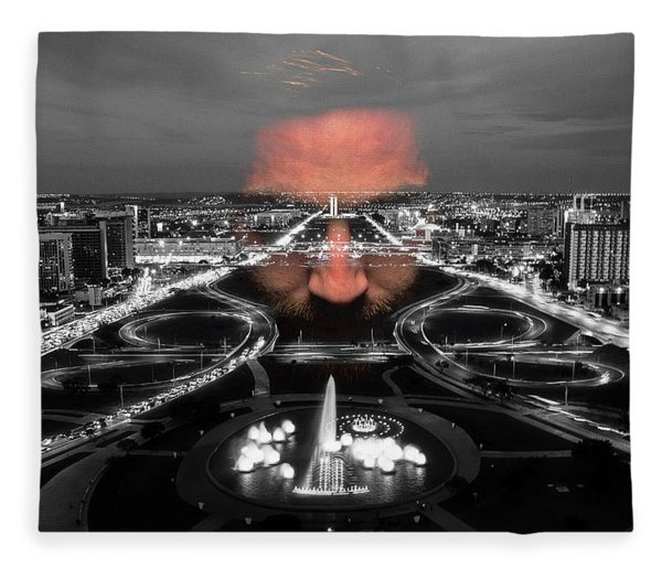 Fleece Blanket featuring the digital art Dark Forces Controlling The City by ISAW Company