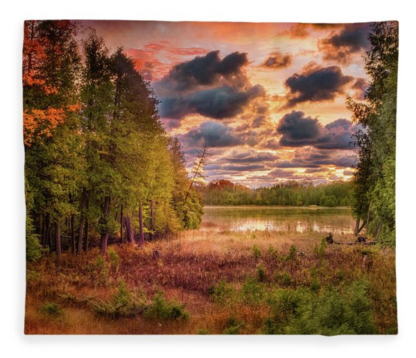 Dawn At The Lake Fleece Blanket