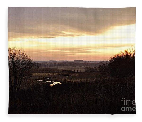 Dawn In The Valley Fleece Blanket