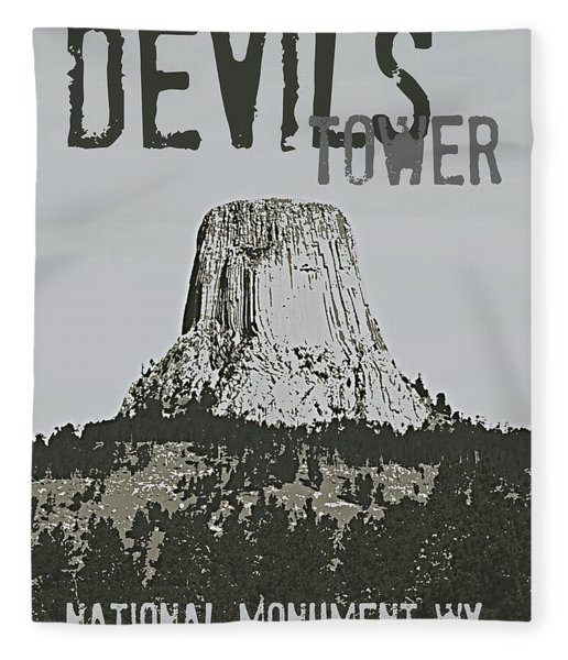 Devils Tower Stamp Fleece Blanket