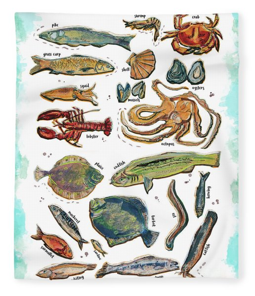 Different Fishes And Seafood Fleece Blanket