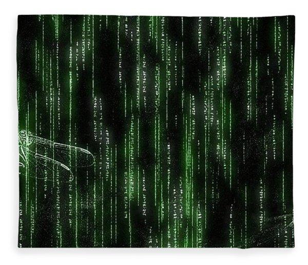 Digital Dragonfly Fleece Blanket