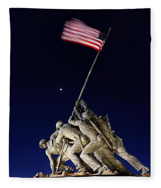 Digital Liquid - Iwo Jima Memorial At Dusk Fleece Blanket