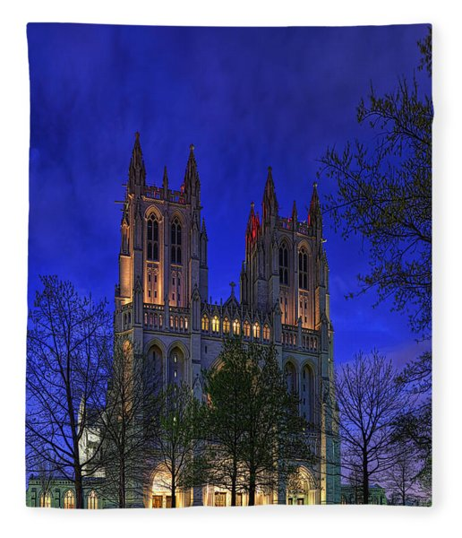 Digital Liquid - Washington National Cathedral After Sunset Fleece Blanket