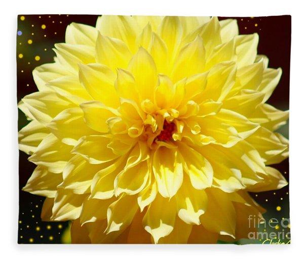 Dinner Plate Dahlia In Starry Sky Fleece Blanket
