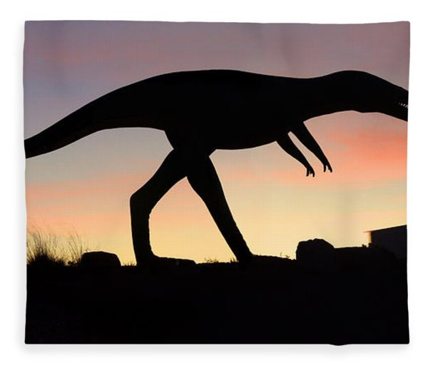 Dinosaur Loose On Route 66 Fleece Blanket