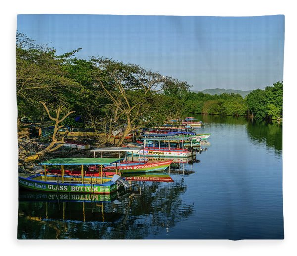 Boats By The River Fleece Blanket